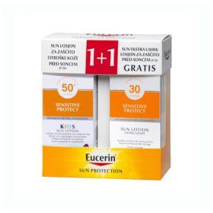 Eucerin Box Sun Kids (Losion za zaštitu osetljive dečje kože od sunca SPF 50+ + Izrazito lagani losion za zaštitu osetljive kože od sunca SPF 30)